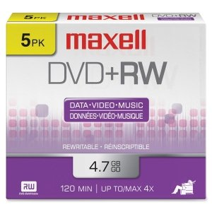 Maxell 4.7GB 4x DVD plus RW (5-Pack)