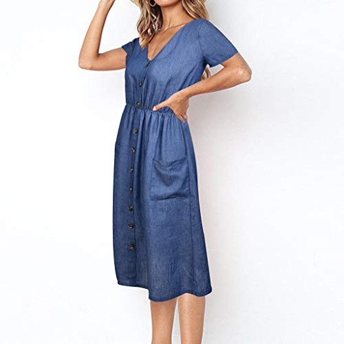 (HunYUN Women's Casual Loose Pocket Long Dress Women Holiday Strappy Button Pocket Denim Dress Summer Beach Midi Swing Dress)
