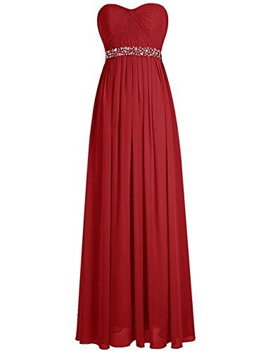 Robes De Demoiselle D'honneur De Perles De Taille Empire Des Femmes De Mariée Rouge Robe Longue Fête De Mariage De Anna