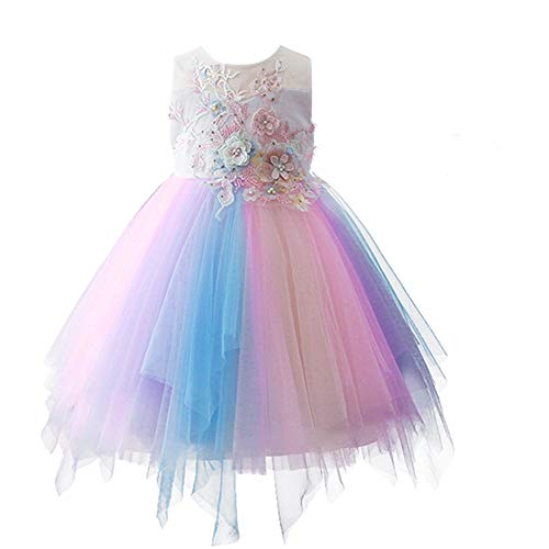 Flower Girl Rainbow Unicorn Cosplay Tulle Tutu Dress