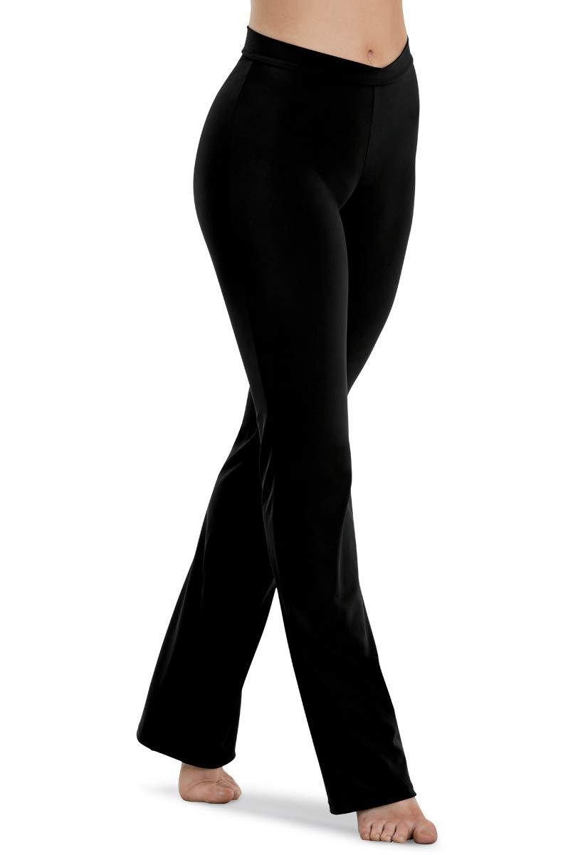 Balera Womens V-Waist Bootcut Jazz Pants for Dance Girls Mid-Rise Waistband Black by Balera