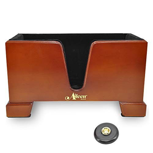 Aileen 4/4 Wooden Cello Box Stand Including Bow Holder with Anti-Slip Mat (Cello Stand Adjustable)