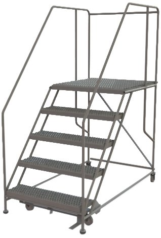Tri-Arc WLWP153636SL 5-Step Forward Descent Mobile Steel Work Platform with Handrails, Step Lock, 36-Inch x 36-Inch Platform
