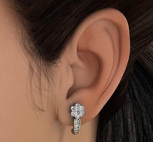 18K Or Blanc 0,65CT TW Round-cut-diamond (IJ | SI) Boucles d'oreilles créoles
