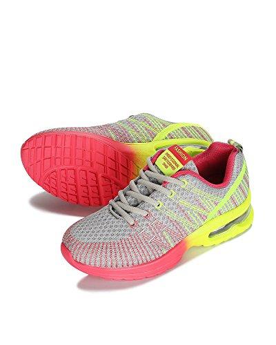 Libre La Amarillo Amortiguador de de Al Superior Mujeres Zapatos Transpirable Adolescentes Aire Colorido Cordones Aire Viajes Zapatos Malla Universidad con Gris Running de qaB4AgU