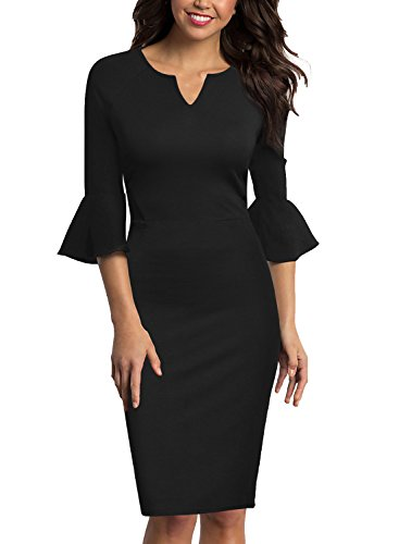 WOOSUNZE Womens Flounce Bell Sleeve Office Work Casual Pencil Dress (Black, Medium)