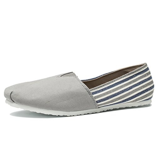 Comfort Flat Shoes For Men and Women, Classic Casual Canvas Slip On Flats Grey Stripe