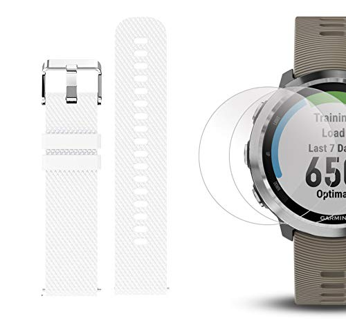 Garmin Forerunner 645 Bundle with Extra Band & HD Screen Protector Film (x4) | Running GPS Watch, Wrist HR, LiveTrack, Garmin Pay (Sandstone, White) by PlayBetter (Image #6)