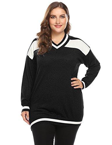(Zeagoo Women's Plus Size Cotton Blend Striped V Neck Long Sleeve Knit Pullover Sweater,Black,16)