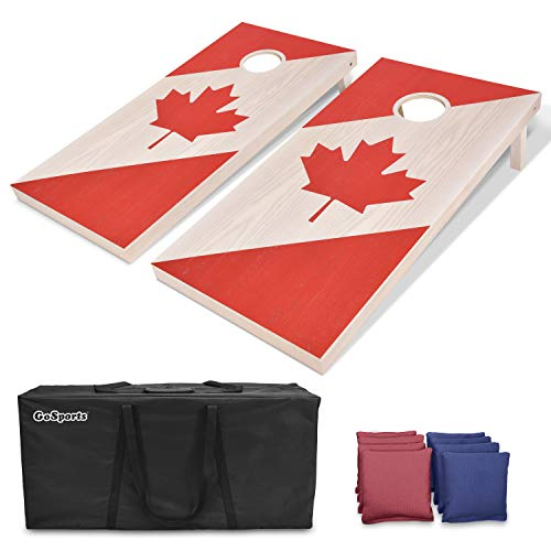 lation Size Solid Wood Cornhole Set - Canadian Flag - Includes Two 4' x 2' Boards, 8 Bean Bags, Carrying Case & Game Rules ()