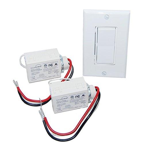 Single Light Light Kit - Wireless Light Switch Kit - Single Rocker Switch & 2 Relays - BATTERY FREE
