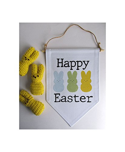 Happy Easter Sign, Canvas Wall Banner, Fabric Wall Banner, Easter Decor, Easter Wall Hanging, Happy Easter Pennant Flag, Easter (Weather Pennant Banner)