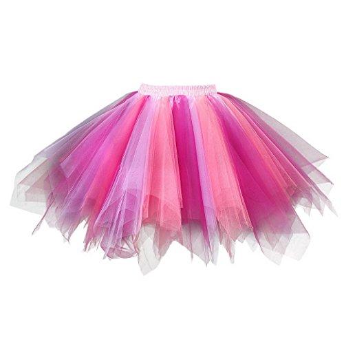 Danse Mini Femme Courte Rose Magenta jupe dentelle Vintage Taille Bouffe Princesse Scne Tulle Grande Dguisement Jupon Tutu Bal en Jupe Pliss Thatre Cosplay Ballet Feoya pour Soire Costume Elastique vUnfZpv