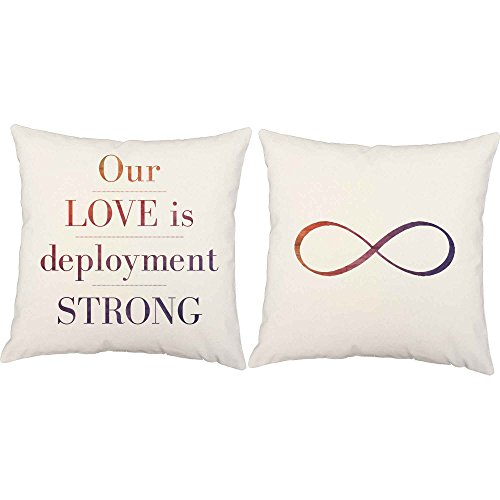 Set of 2 RoomCraft Our Love is Deployment Strong Throw Pillows 20x20 Square White Indoor-Outdoor Military Cushions by RoomCraft