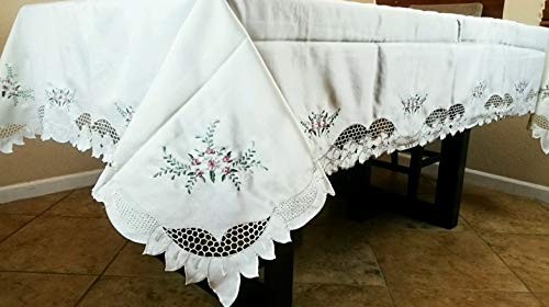 Mikash 72x144 Embroidery Rosebuds Embroidered Tablecloth Napkins | Model TBLCLTH - 946