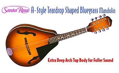 Santa Rosa Honey Sunburst Deep Arch-Top Body 8-String A- A-Style Mandolin With Chrome Machine Heads Right Handed (MAND22