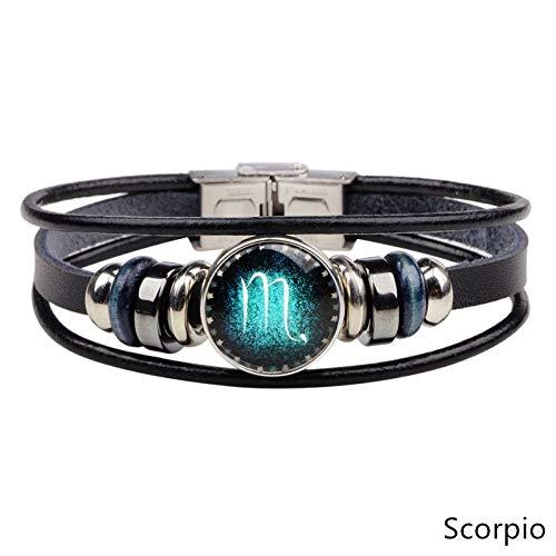 ESCYQ Mens Bracelets Bracelet,12 Constellations Bracelet Fashion Jewelry Leather Scorpio Bracelet Men Casual Personality Zodiac Signs Punk Bracelet