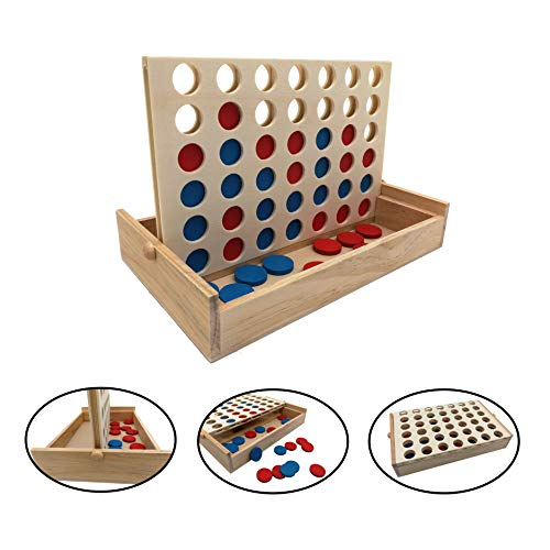 SPORT BEATS Wooden 4 in a Row Tabletop Games, Fun for Kids and Adults, Easy to Set up, Convenient Storage and Play Anywhere