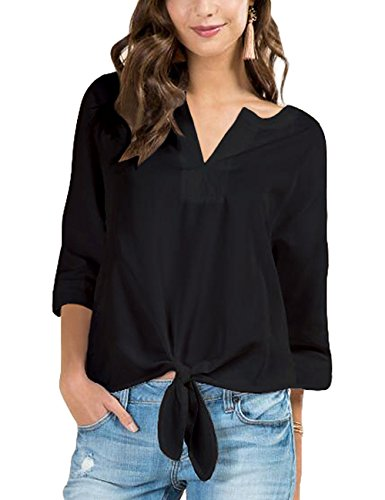 Lookbook Store Womens Casual V Neck 3/4 Sleeves Knot Tie-Front Blouse Shirt Tops
