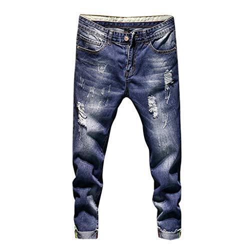 iYYVV Mens Fashion Causal Pocket Zipper Slim Fit Shredded Denim Long Jeans Pants