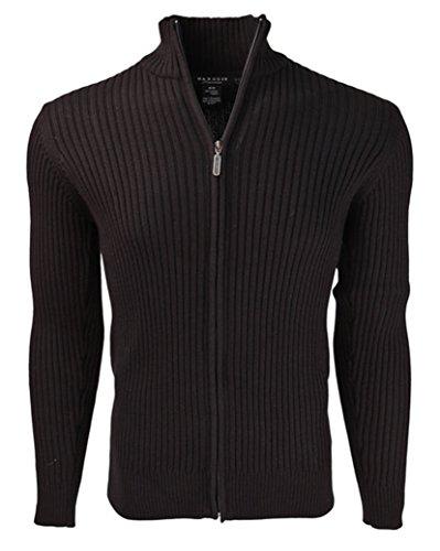 Cotton Mock Turtleneck Sweater (Marquis Men's Black Full Zip Ribbed Mock Turtleneck 100% Cotton Cardigan)