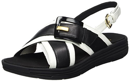 Geox Women's D Koleos F Open Toe Sandals Black (Black/White C0127) nSUuyfXO