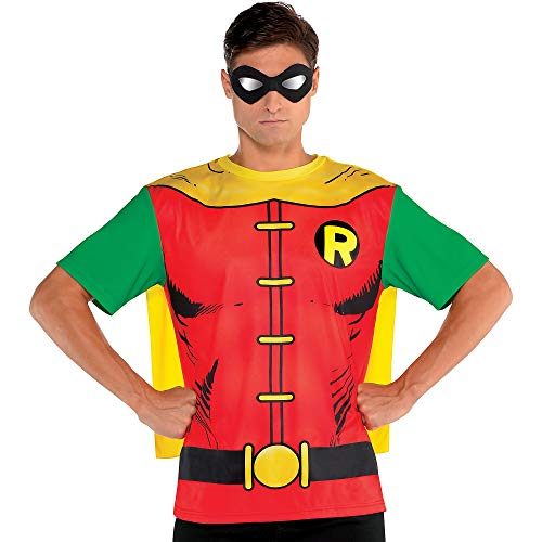 Suit Yourself Batman Robin T-Shirt with Cape for Adults, Size Medium, Red and Green with an Attached Yellow Cape ()
