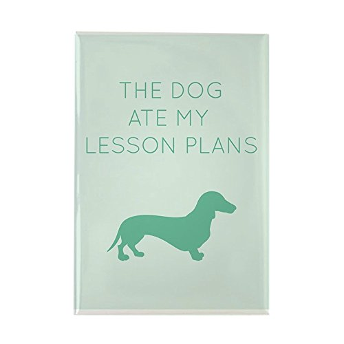 CafePress The Dog Ate My Lessons Plans - Dachshund Magnets Rectangle Magnet, 2