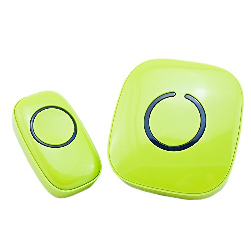 SadoTech Model C Wireless Doorbell Operating at over 500-feet Range with Over 50 Chimes, No Batteries Required for Receiver, (Lime Green) (Lime Green Faceplates)