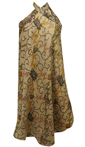 sheshe Paisley Print Beige Pure Silk Casual Dress Reversible Hippie Vintage Saree Skirt Wrap Paisley Print Silk Dress