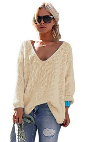 Pullover Sweater Longues Jumper Col Femme de Manches Mikos V Couleurs 617 Pull Beige Beaucoup wAqC6AE