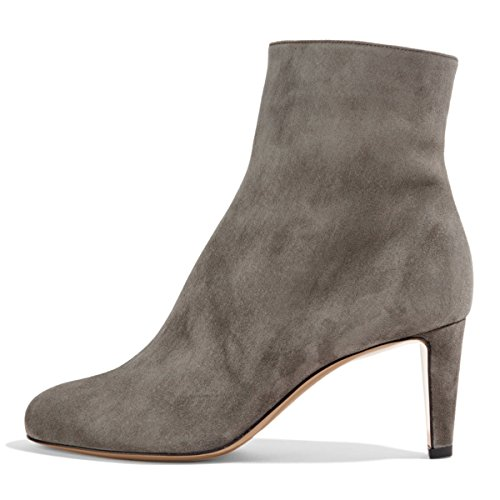 FSJ Women Fashion Round Toe Ankle Boots Low Heel Faux Suede Comfortable Walking Booties Size 4-15 US Grey EUBXCo