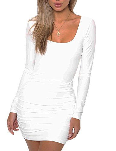 Haola Women's Long Sleeve Backless Ruched Party Sexy Mini Bodycon Dress M White