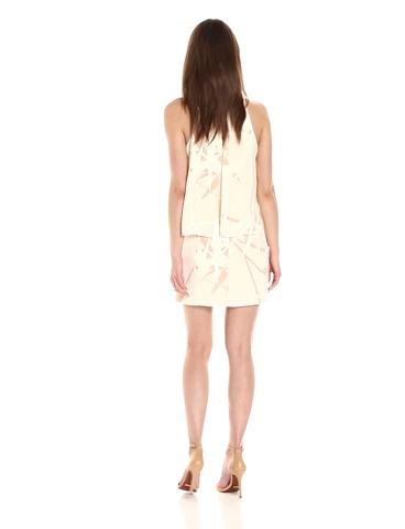 Halston Heritage Womens Sleeveless Round Neck Printed Tiered Dress