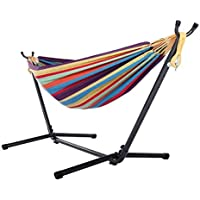 Hammock with Stand, Premium Cotton Hammock with Space Saving Steel Stand, Patio, Tree, Outdoor Hammock Portable Carrying Bag Included (Tropical)