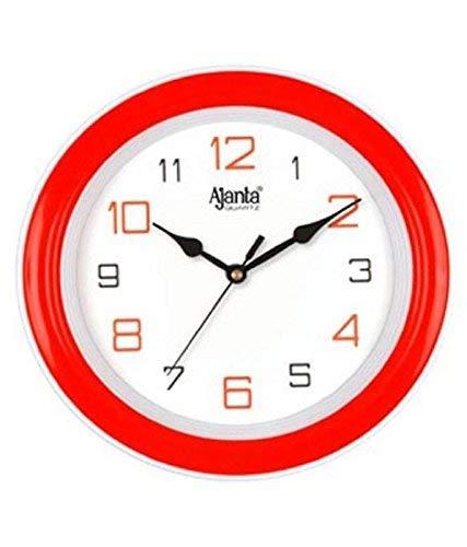 Ajanta – 2147 – RED Round Plastic Wall Clock (20.5 cm x 20.5 cm x 3.5 cm, Red)