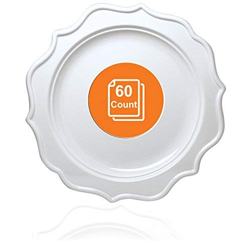 Tiger Chef 60-Count, 10-inch White Color, Scalloped Rim Disposable Plastic Round Big Party Plate Set, includes 60 Dinner Plates, Plastic - BPA-Free, for Baby Showers, Wedding, Birthday