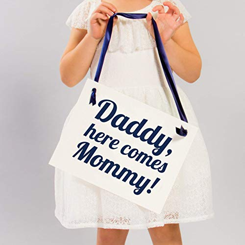Daddy Here Comes Mommy Sign for Ring Bearer Or Flower Girl | Navy Blue Ink on Ivory Paper (Daddy Here Comes Mommy Flower Girl Basket)
