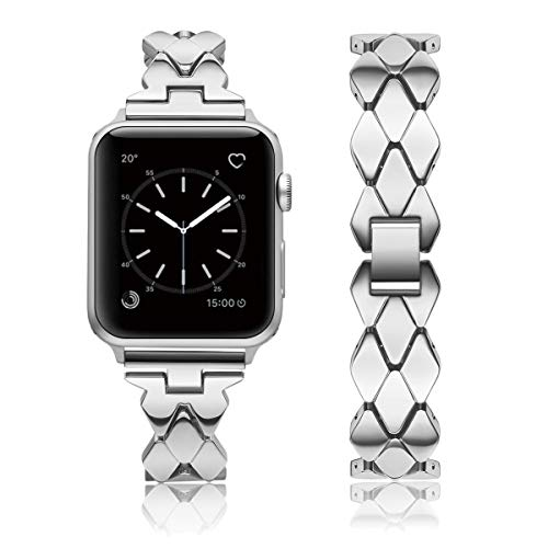 KWLET Metal Band Replacement for 42mm Apple Watch Women Stainless Steel Designer Band Thin Link Bracelet for iWatch 44mm Band Series 4 3 2 1