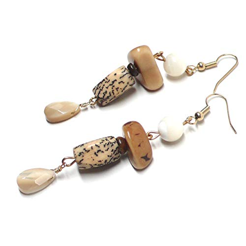 (Mother-of-Pearl Shell Briolette Pierced Earrings Betel Tagua Nut)