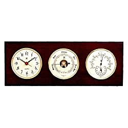 Kensington Row Coastal Collection WEATHER STATIONS -GLOUCESTER CLOCK, BAROMETER & THERMOMETER/HYGROMETER ON MAHOGANY BASE
