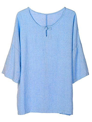 Minibee Women's Elbow Sleeve Linen Tunic Tops Solid Color Retro Blouse Blue L