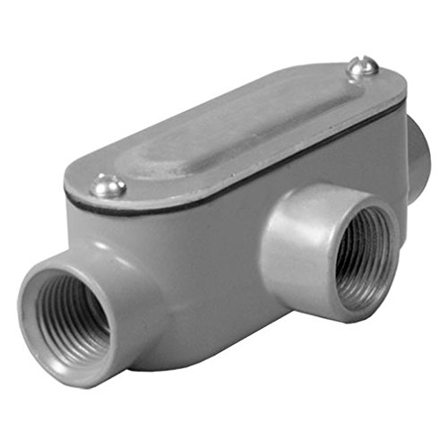 Taymac RLT050 Threaded T Type Conduit Body, Die Cast Aluminum, Stamped Steel Cover, 1/2-Inch