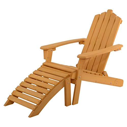 Giantex Wood Adirondack Chair w/Ottoman Outdoor Patio Deck Garden Lounge Furniture (Outdoor Adjustable Adirondack Lounge)