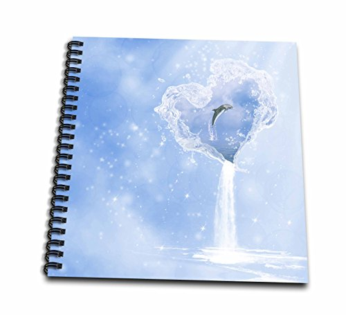 Waterfall Dolphin (3dRose db_172223_1 Heart Ocean Waterfall Dolphin Blue Fantasy-Drawing Book, 8 by 8-Inch)