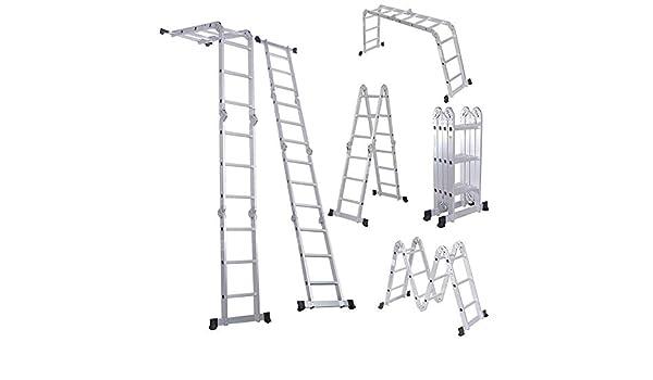 Ylmhe Escalera Telescópica bisagra de Bloqueo de Seguridad, Extensible y Multiusos, Aluminio, pies Antideslizantes de Goma, Fabricado según especificaciones, 330 Lbs de Capacidad (Escalera de 4 x 3): Amazon.es: Hogar