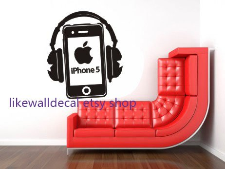 large-unique-iphone-telephone-phone-with-headset-house-home-art-decals-wall-sticker-vinyl-wall-decal