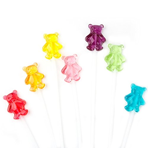 Twinkle Pops Lollipop, Teddy Bears Shapes (Pack of 120 Lollipops), 12 inch Long Lollipop Stem, Handcrafted in USA, 6 Vibrant Colors, Fruit Flavors, 37.80 Ounce by Sparko Sweets
