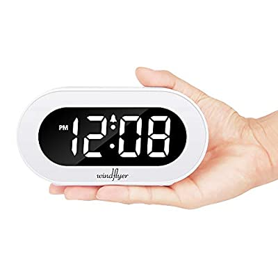 Windflyer Small LED Digital Alarm Clock with Snooze, Simple to Operate, Full Range Brightness Dimmer, Adjustable Alarm Volume, Outlet Powered Compact Clock for Bedrooms, Bedside, Desk, Shelf(White)