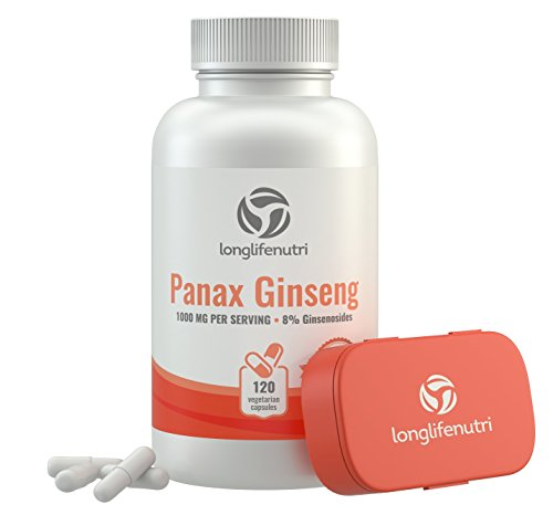 Korean Red Panax Ginseng 1000 mg Serving | 120 Vegetarian Capsules | High Potency Ginsenosides 8% | 100% Pure Root Extract Complex | Pills For Sex and Mental Health | Energy Asian Powder Supplement Panax Ginseng 600 Mg Capsules
